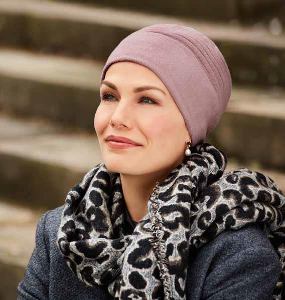 Gorro tejido para quimioterapia tejido en algodón en rosa