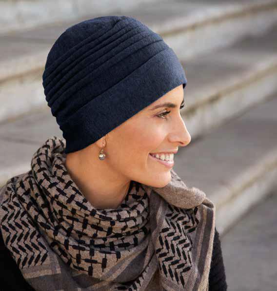 Gorro tejido para quimioterapia tejido en algodón en azul marino